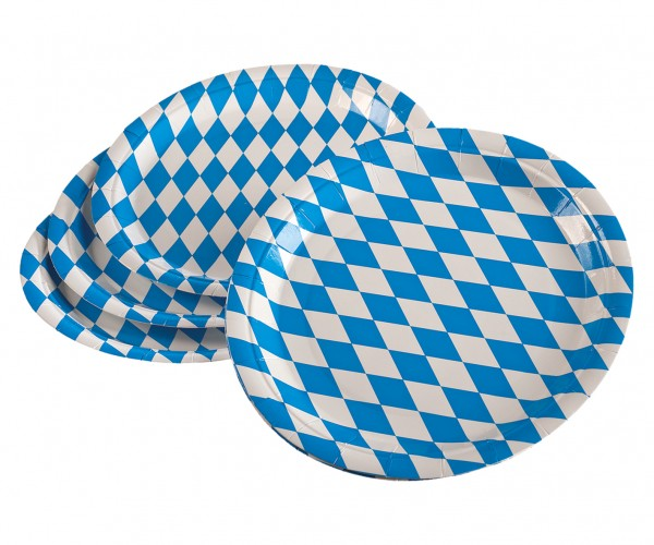 Oktoberfest Papier Teller blau-weiß 10er Pkg