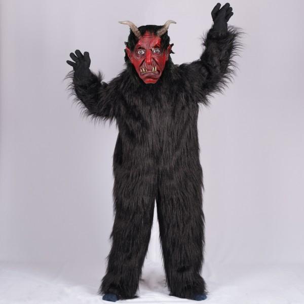 Krampus Kombi Overall mit Maske Größe 140 schwarz