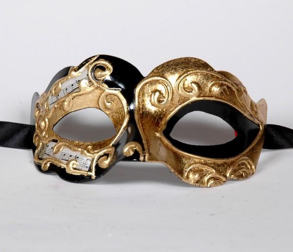 Venezianische Maske Columbine Baby Musica schwarz-gold