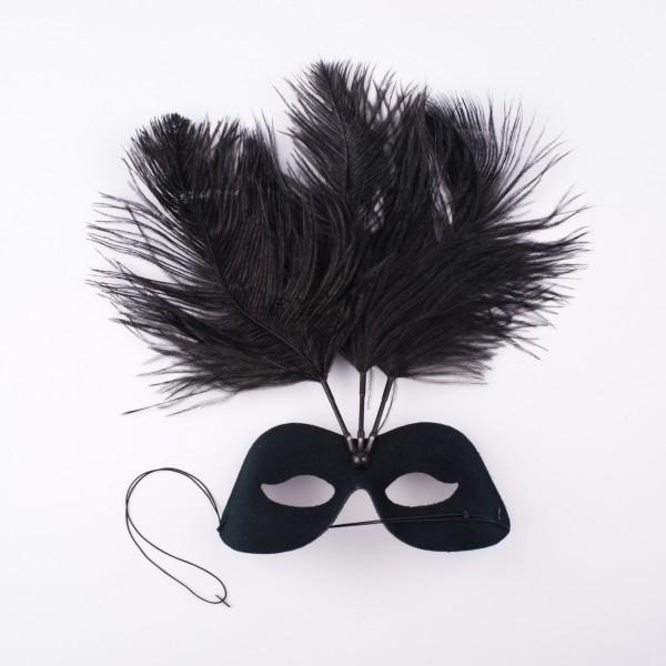 Augenmaske schwarz mit 3 Federn