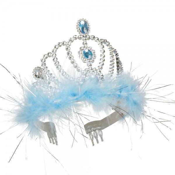 Königin Diadem silber mit blauen Federn