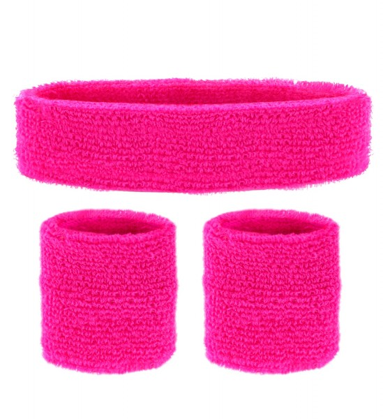 Neon-pinkes Stirnband und Schweißbänder 80er Jahre Style
