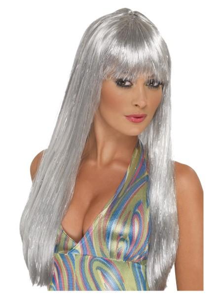 Disco Glitter Langhaar Perücke mit Stirnfransen silber