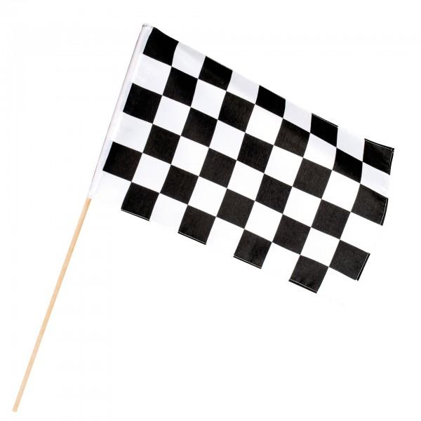 Zielflagge schwarz-weiß 30x45cm mit Holzstab