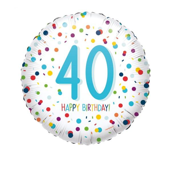 Happy Birthday Ballon 40er weiß mit Konfetti Muster