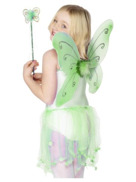 Schmetterling Flügel Set grün mit Stab