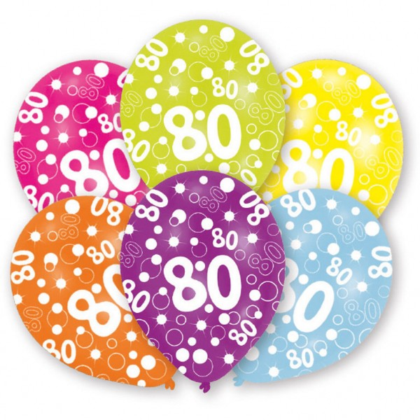 6 Stück Luftballons 80er Happy Birthday