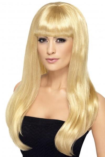 Langhaar Perücke blond mit Stirnfransen