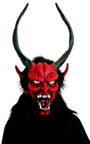 Krampus Maske mit lange Hörner aus Gummi