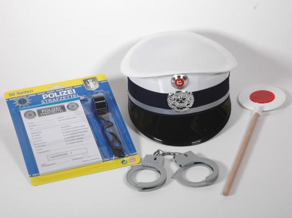 Polizei Set 6teilig mit Kappe weiss/blau