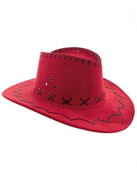 Kinder Cowboy Hut Lederoptik rot