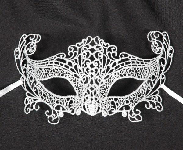 Venezianische Spitzen-Maske silber
