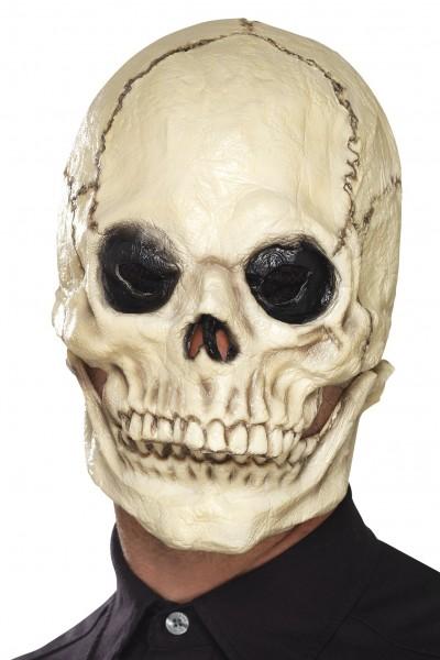 Maske Totenkopf weiss mit beweglichem Kiefer