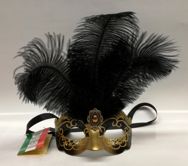 Venezianische Maske klein mit Federn schwarz-gold