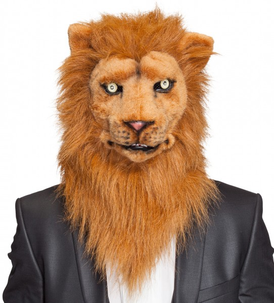 Maske Löwe Plüsch beweglich mit Licht