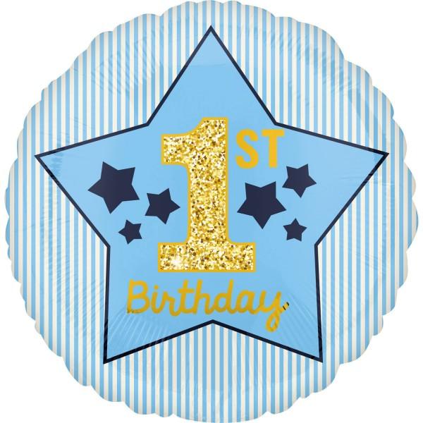 Folienballon zum 1. Geburtstag blau