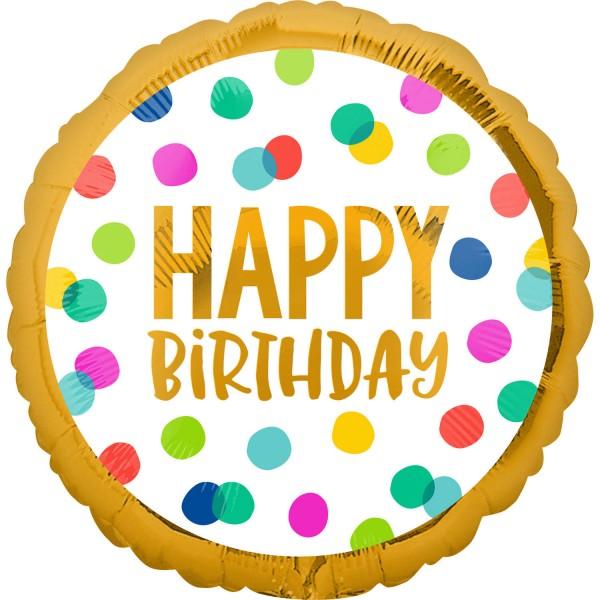 Luftballon Happy Birthday mit Punkten und Goldrand