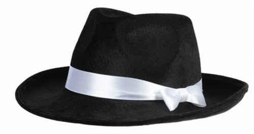 Gangster Hut schwarz mit weissem Band