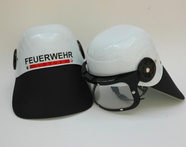 Feuerwehr Helm weiss m. Visier einfach