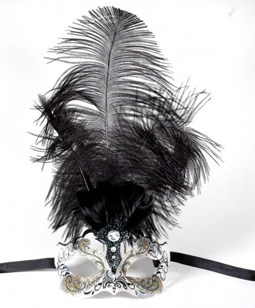 Venezianische Maske silber-glitter mit schwarzen Federn