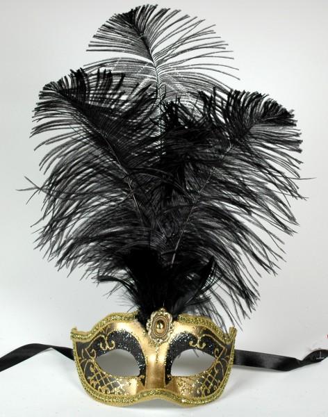 Venezianische Maske mit Federn schwarz-gold