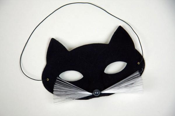 Katzen Maske schwarz mit Schnurrbart