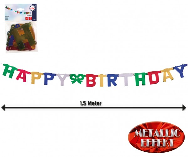 Happy Birthday Buchstaben Girlande 1,5m