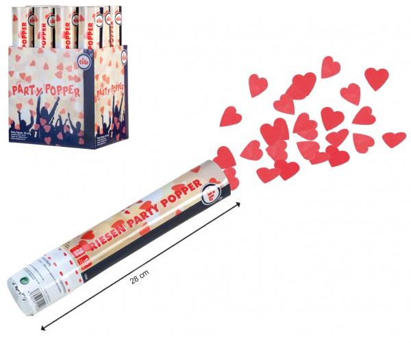 Konfetti Shooter 28cm gefüllt mit Papier-Herz-Konfetti rot