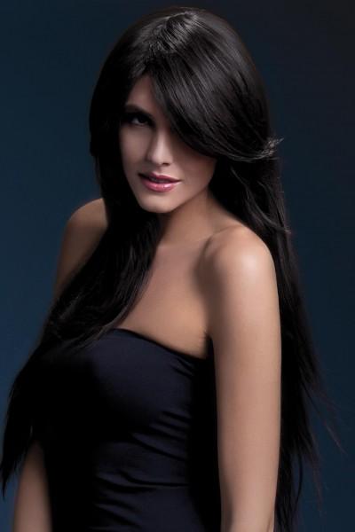 Ambre Perücke braun lange glattes Haar Premium Qualität