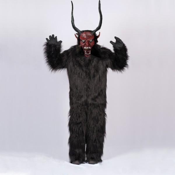 Krampus SET Overall X-LARGE und Maske mit langen Hörnern