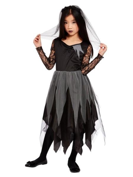 Schwarz-Graue Gruselbraut Kleid mit Schleier LARGE