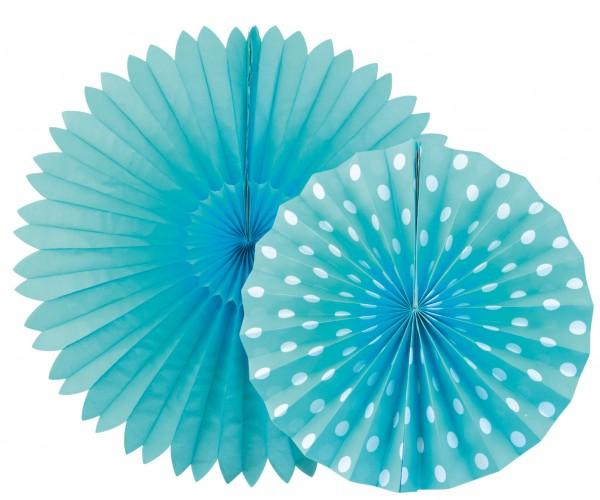 SET Fächer Lampion 2 Stück blau mit Punkten