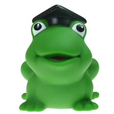 Badetier Frosch mit Doktor Hut 8cm