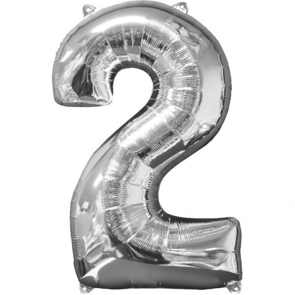 """Zahlen Luftballon """"2"""" silber ca. 66x43cm"""