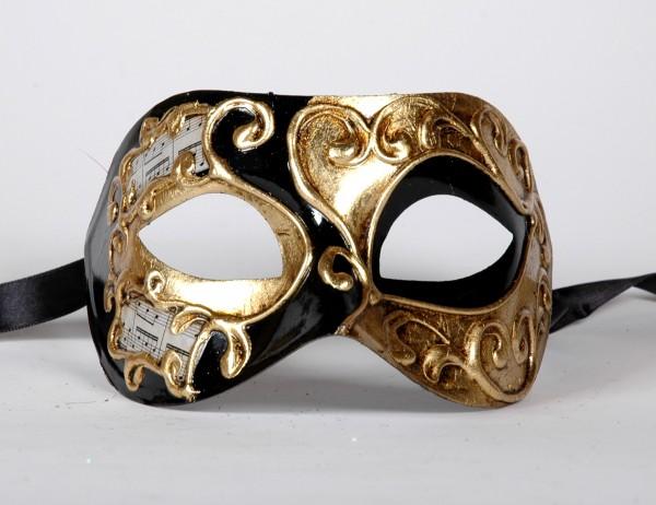 Venezianische Maske Columbine Musica gold-schwarz