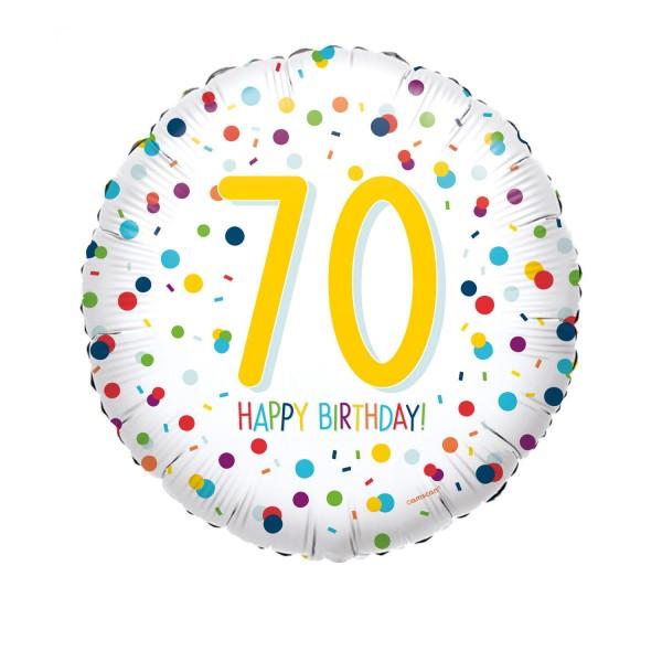 Happy Birthday Ballon 70er weiß mit Konfetti Motiv