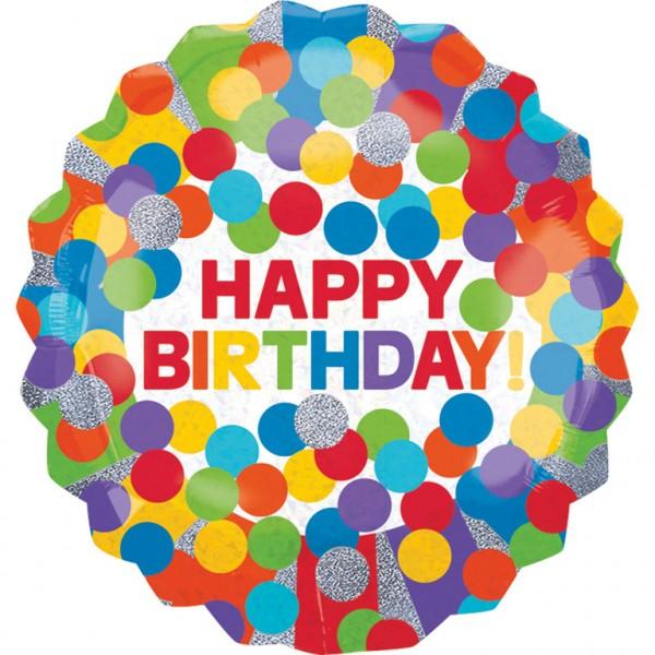 Jumbo Luftballon Happy Birthday Rainbow Konfetti