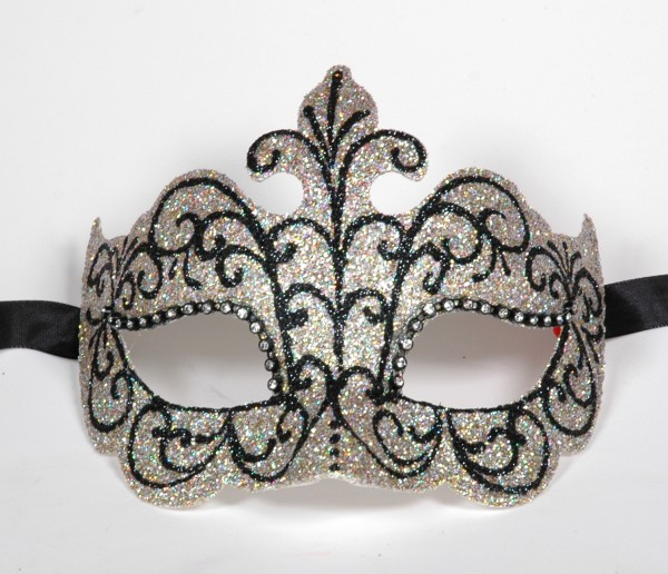 Venezianische Maske silber-glitter Columbine Punta