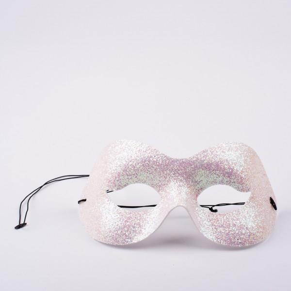 Augenmaske weiß-glitter