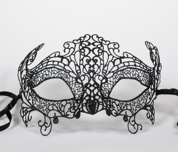 Venezianische Spitzen-Maske schwarz