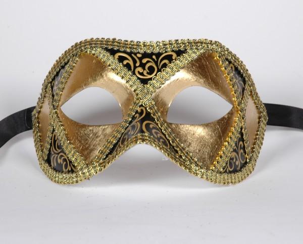 Venezianische Maske gold-schwarz Columbine