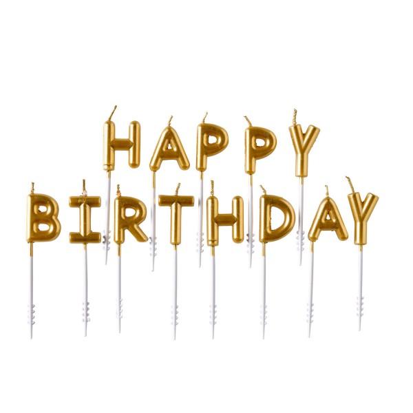 """13 Buchstaben-Kerzen """"Happy Birthday"""" in gold 7,3cm hoch"""