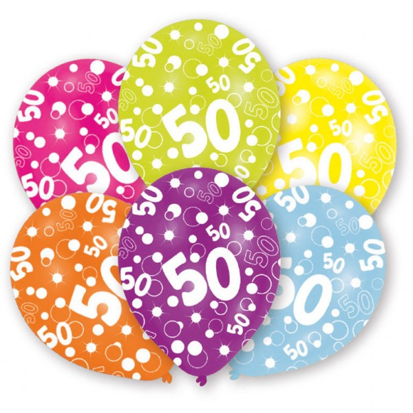 6 Stück Luftballons Happy Birthday 50. Geburtstag