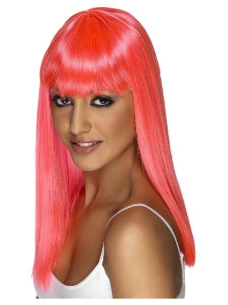 Neon-Pink Langhaar Perücke mit Stirnfransen