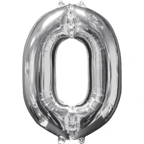 """Zahlen Luftballon """"0"""" silber ca.66x50cm"""