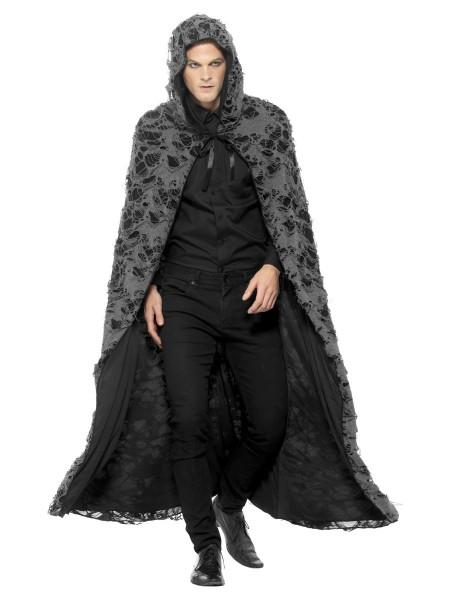 Halloween Fetzen Umhang schwarz-grau