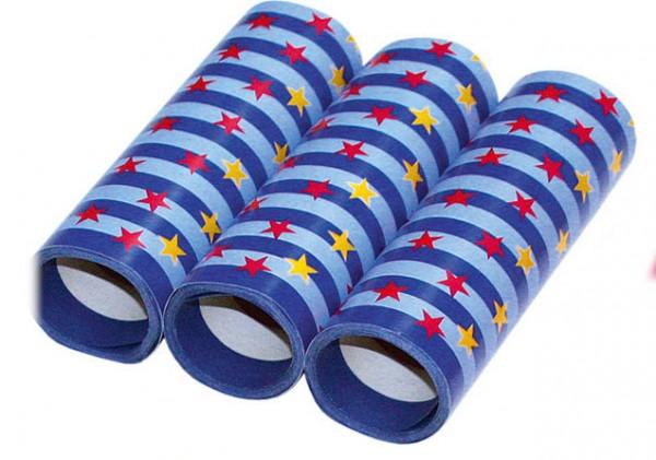 Luftschlangen 3er Packung blau mit Sternen