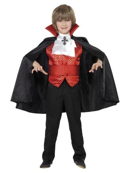 Vampir Umhang mit Weste MEDIUM für Kinder