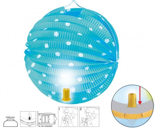 Lampion mit LED Licht blau mit Punkten D:20cm