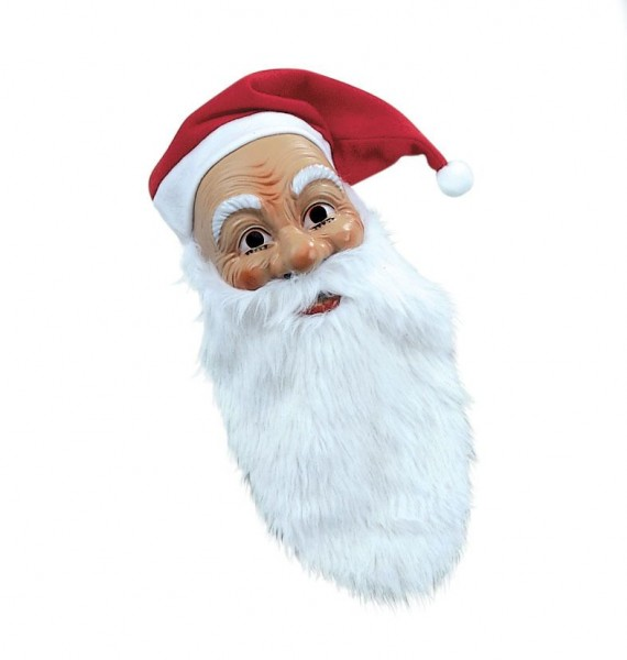 Nikolo Weihnachtsmann Maske mit Bart und Mütze